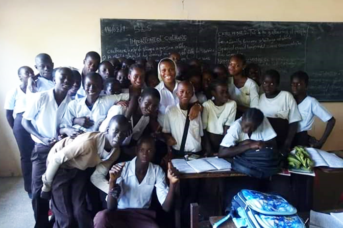 Sister Maryanne Ekam teaching at St. Edward's Upper Basic School