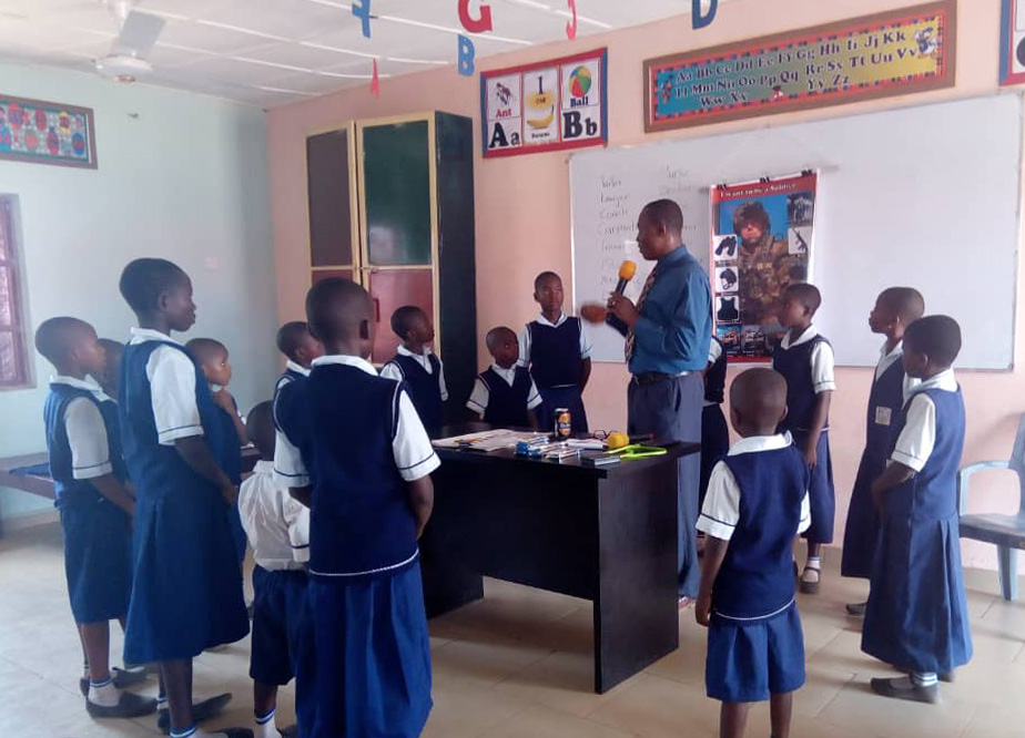 Teacher sharing knowledge with students