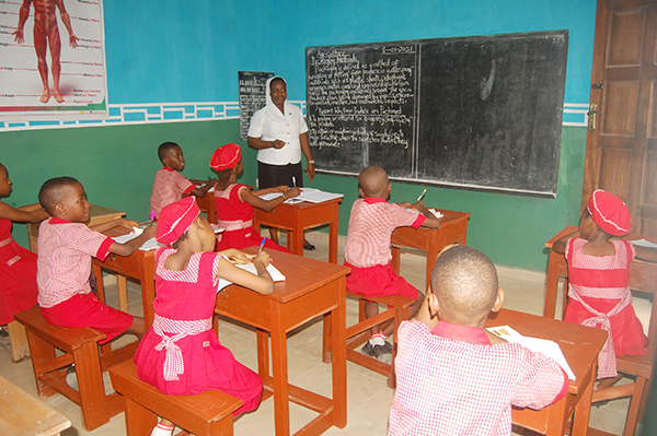 Sister Magdalene Akpan at front of class