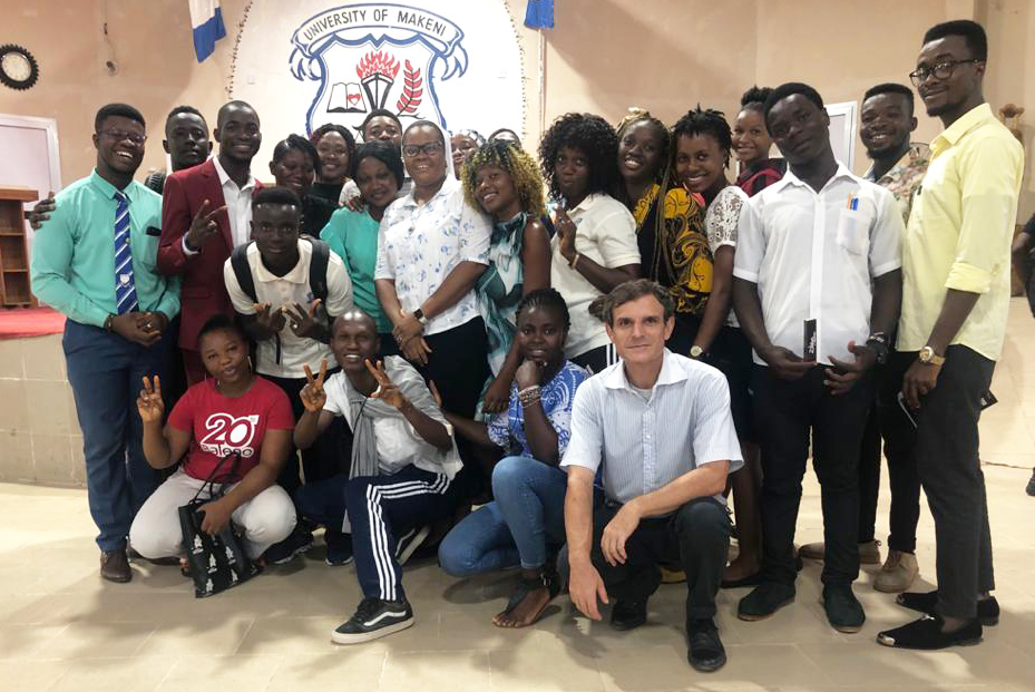 Sister Meg with students and collegues at University of Makeni.