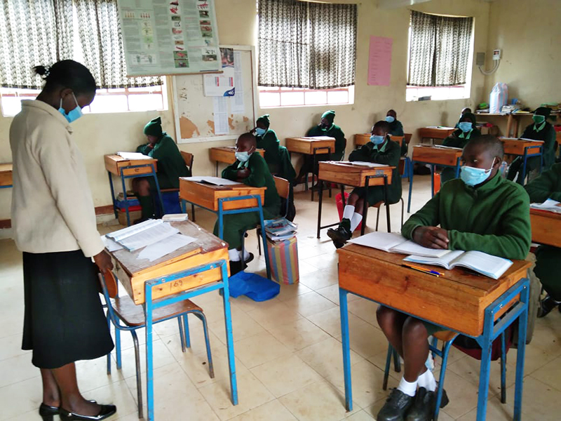 Classroom setting at St. Francis Girls Secondary School in Kiptere, Kenya