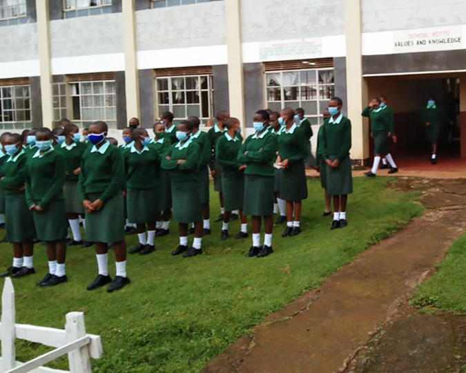 Morning assembly at St. Francis Girls Secondary School in Kiptere, Kenya