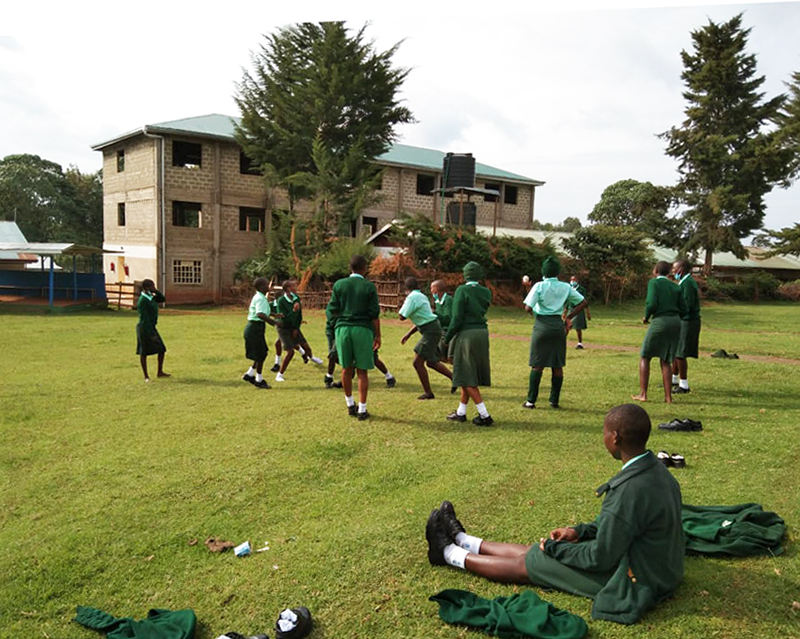 Physical education class at St. Francis Girls Secondary School in Kiptere, Kenya