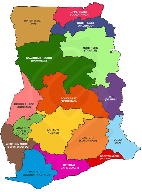 Ghana: colorful map showing different regions within the country.