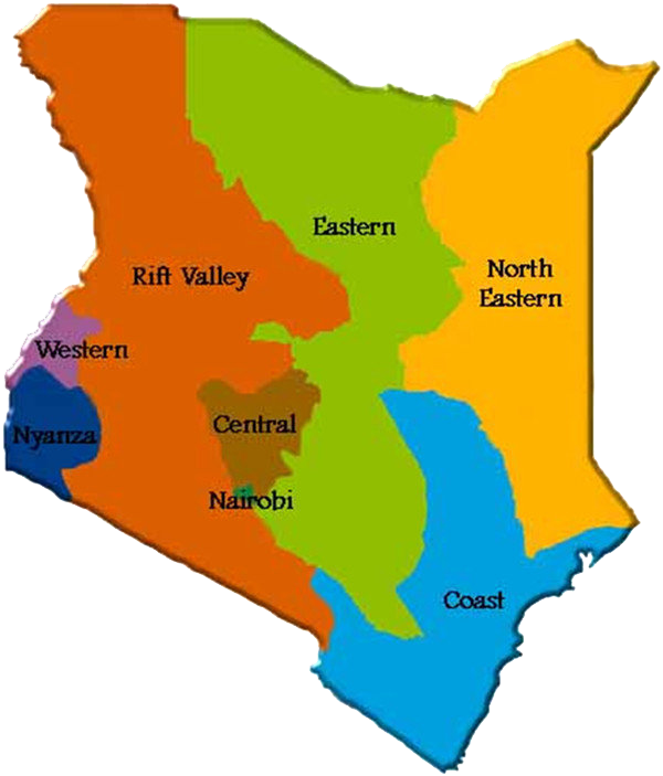Kenya: colorful map showing different regions within the country.