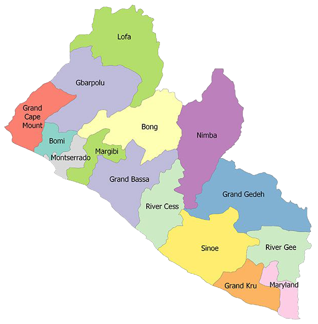 Liberia: colorful map showing different regions within the country.