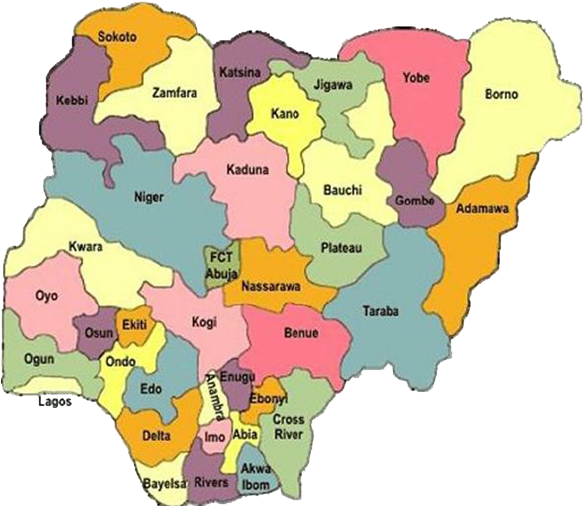 Nigeria: colorful map showing different regions within the country.