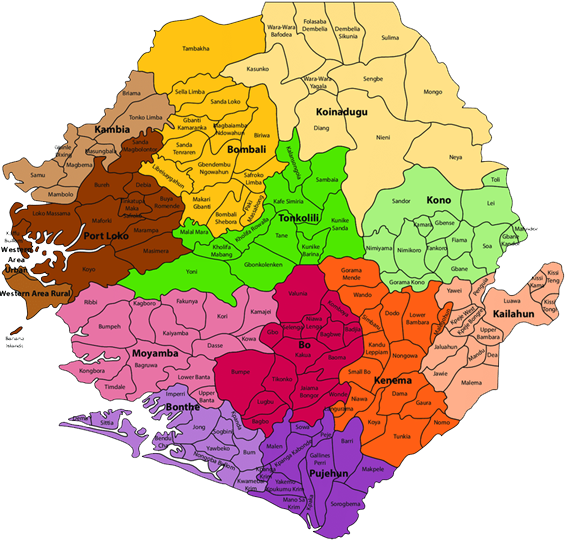 Sierra Leone: colorful map showing different regions within the country.