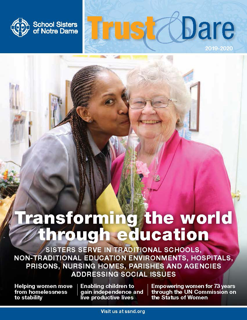 """Cover image of Trust & Dare newsletter featuring """"Transforming the world through education."""""""