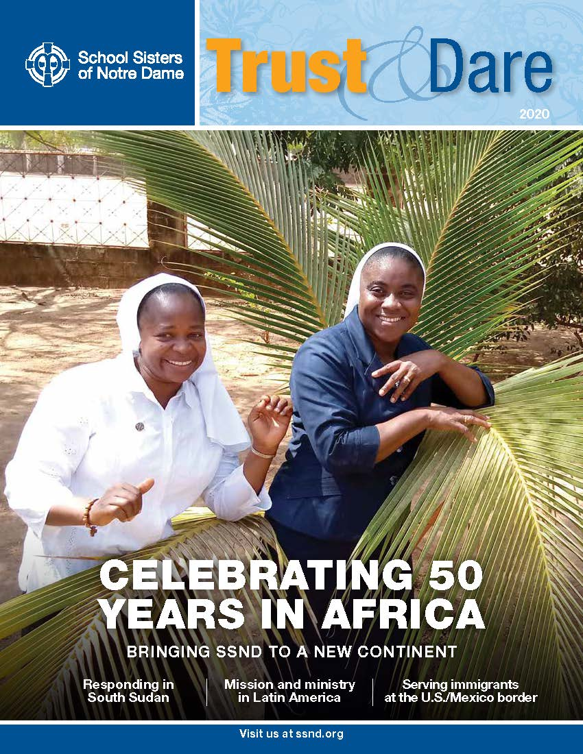 """Cover image of Trust & Dare newsletter featuring """"Celebrating 50 years in Africa"""""""