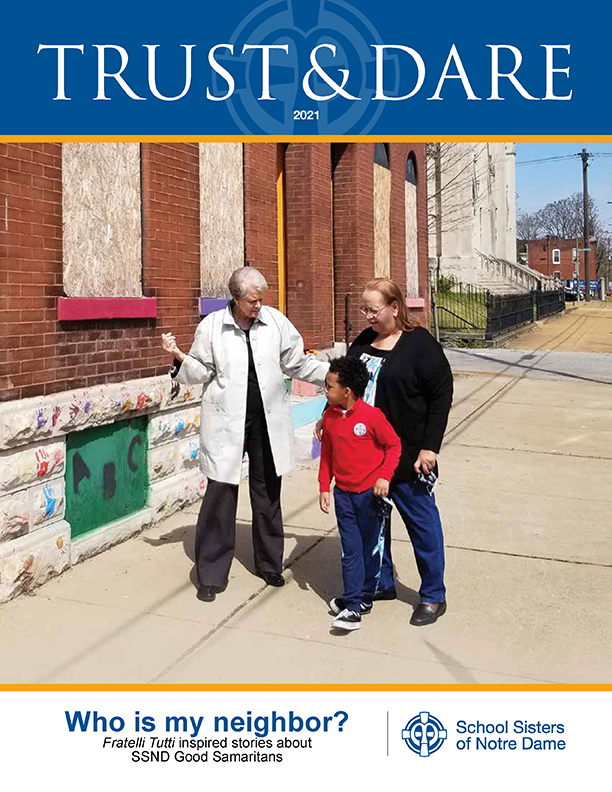 """Cover image of Trust & Dare newsletter featuring """"Who is my neighbor?"""""""
