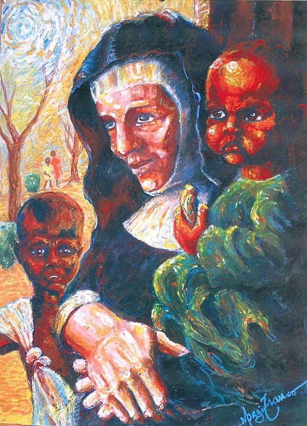 Painting of Blessed Theresa Gerhardinger with two African children.