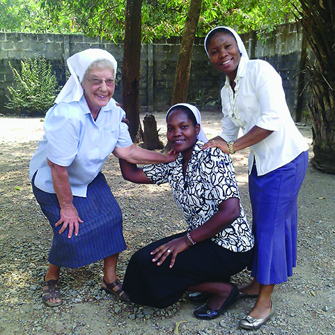 Left to right: Sister Antoinette Nauman with Sisters Ruth Mose and Sarah Tanjo in Bumbuna, Sierra Leone, 2016.