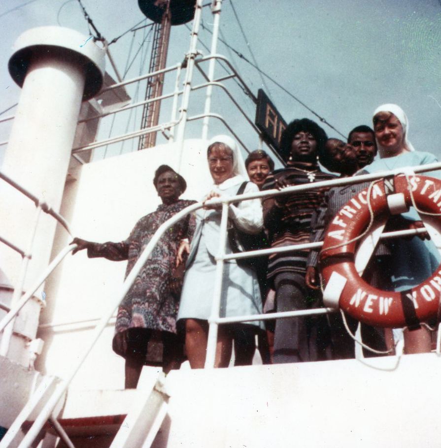 Sister Mary (Marie Daniel) Dooley, far right, boards the African Star enroute to Monrovia, Liberia in October 1970.