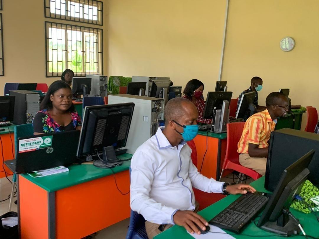 Image of students at computers during Coronavirus pandemic.